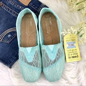 NWT TOMS Women's Mint Lace Classics Slip-On Shoes